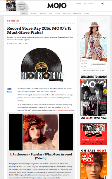 """'Popular' is one of MOJO's must-have picks for Record Store Day UK:  """"A highlight of the Welsh singer-songwriter's debut album… taps directly and defiantly into the emotional scrutiny that teenagers – particularly girls – subject themselves and each another to. Comes with a string quartet version of What Goes Around on the flip. With her prog flourishes and red velvet voice was ever an artist better served by a plush collectible vinyl 7-inch?""""  http://www.mojo4music.com/23617/record-store-day-2016-mojos-15-must-have-picks/"""