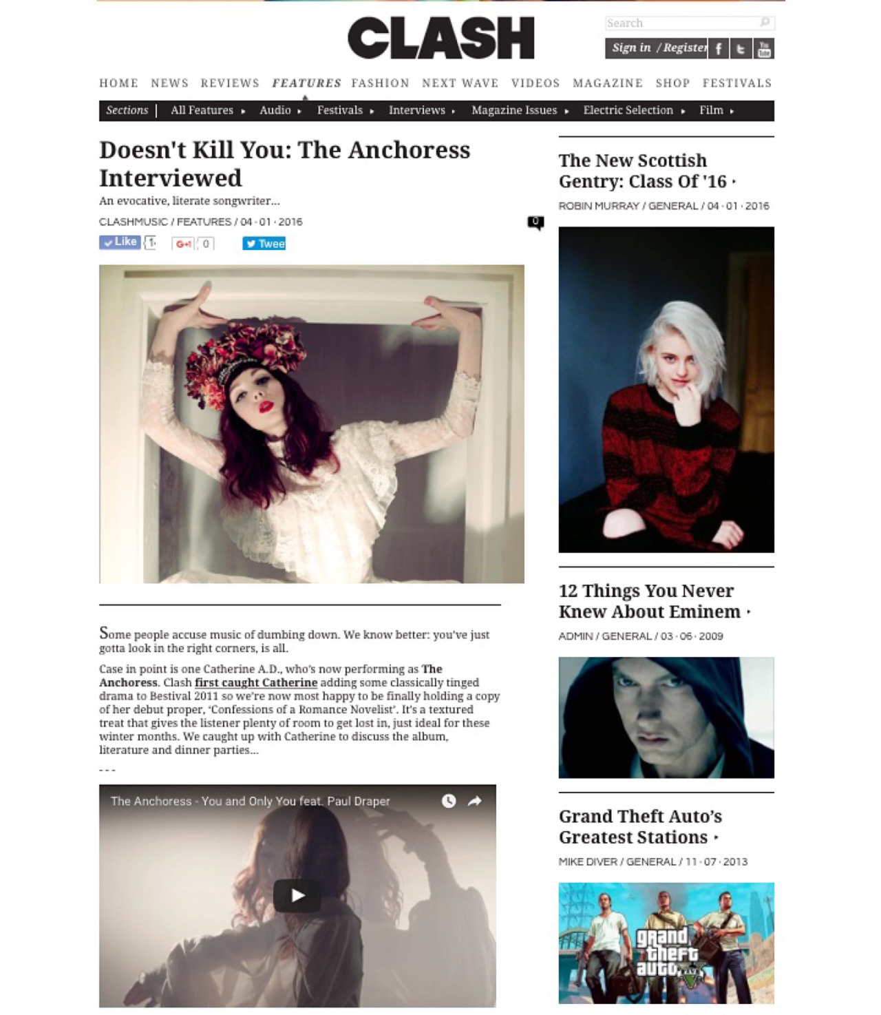 """""""As people we love to impose our own coherence on these things that are very much plotless - loss, failure, disappointment.""""    I sat down for an (as ever) up-beat, in-depth chat with Sam Walker-Smart from Clash Magazine.     http://clashmusic.com/features/doesnt-kill-you-the-anchoress-interviewed"""