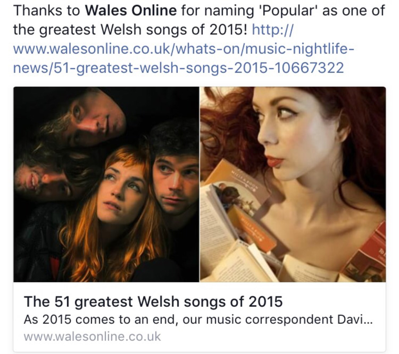 Thanks to Wales Online for naming 'Popular' as one of the greatest Welsh songs of 2015. Honoured to be included in such fine company X     http://www.walesonline.co.uk/whats-on/music-nightlife-news/51-greatest-welsh-songs-2015-10667322