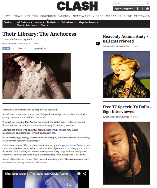 """""""If you can organise a seance I'll do it with Ginsberg.""""    I spoke to Clash about my favourite literature and its influence on the making of the album.    http://www.clashmusic.com/featu…/their-library-the-anchoress"""