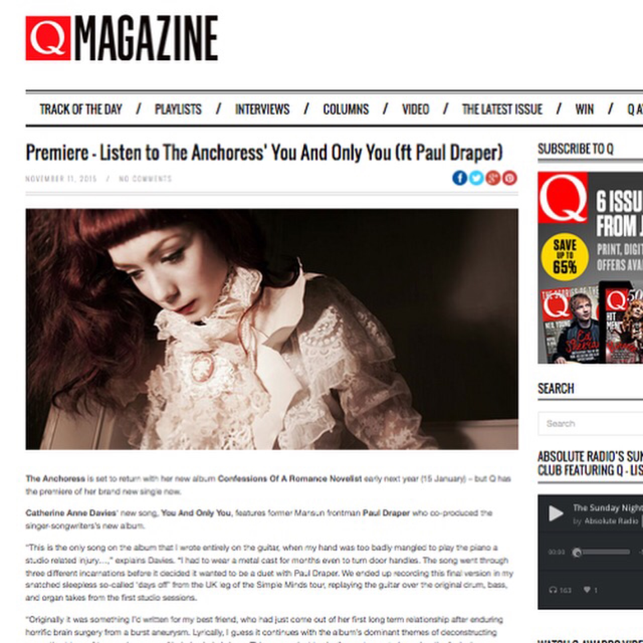 "Head over to Q Magazine for the online premier of the new single ""You and Only You feat. Paul Draper"".   You can now preorder the 5 track digital EP here -  http://smarturl.it/Anchoress_YAOY"