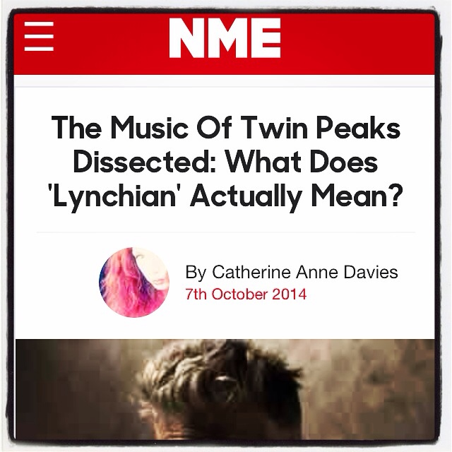 "In the NME…   I wrote a piece for the NME today about the music of Twin Peaks & what the overused term ""Lynchian"" really means…   Read it in full here:  http://www.nme.com/blogs/nme-blogs/the-music-of-twin-peaks-dissected-what-does-lynchian-actually-mean"