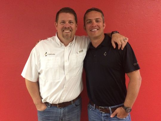Blake Crawford, left, CEO and owner of Crawford Landscaping, with Keith Mahan, president and owner. (Photo: Casey Logan/The News-Press)