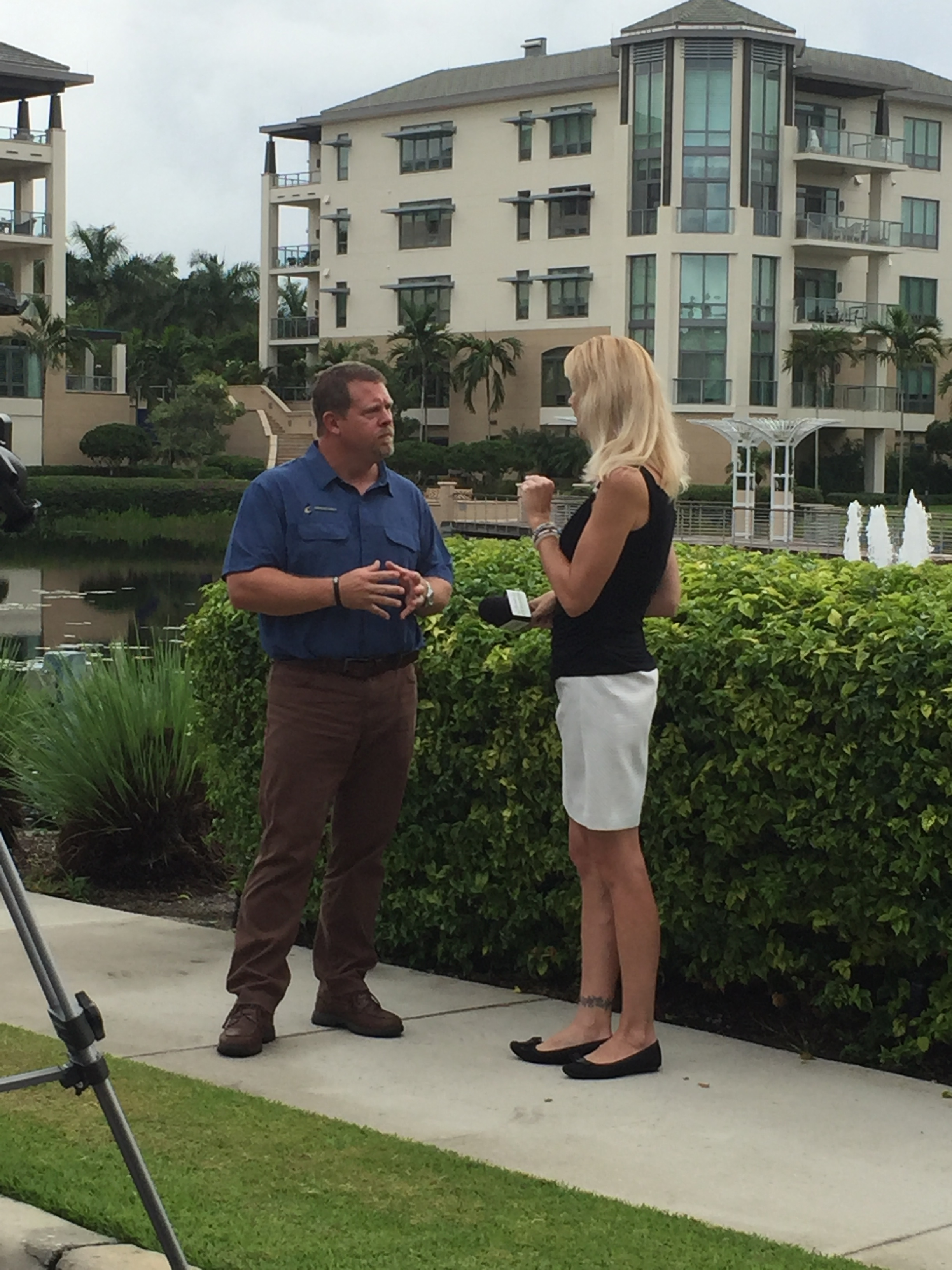 Blake Crawford being interviewed Thursday, August 24th at Moorings Park