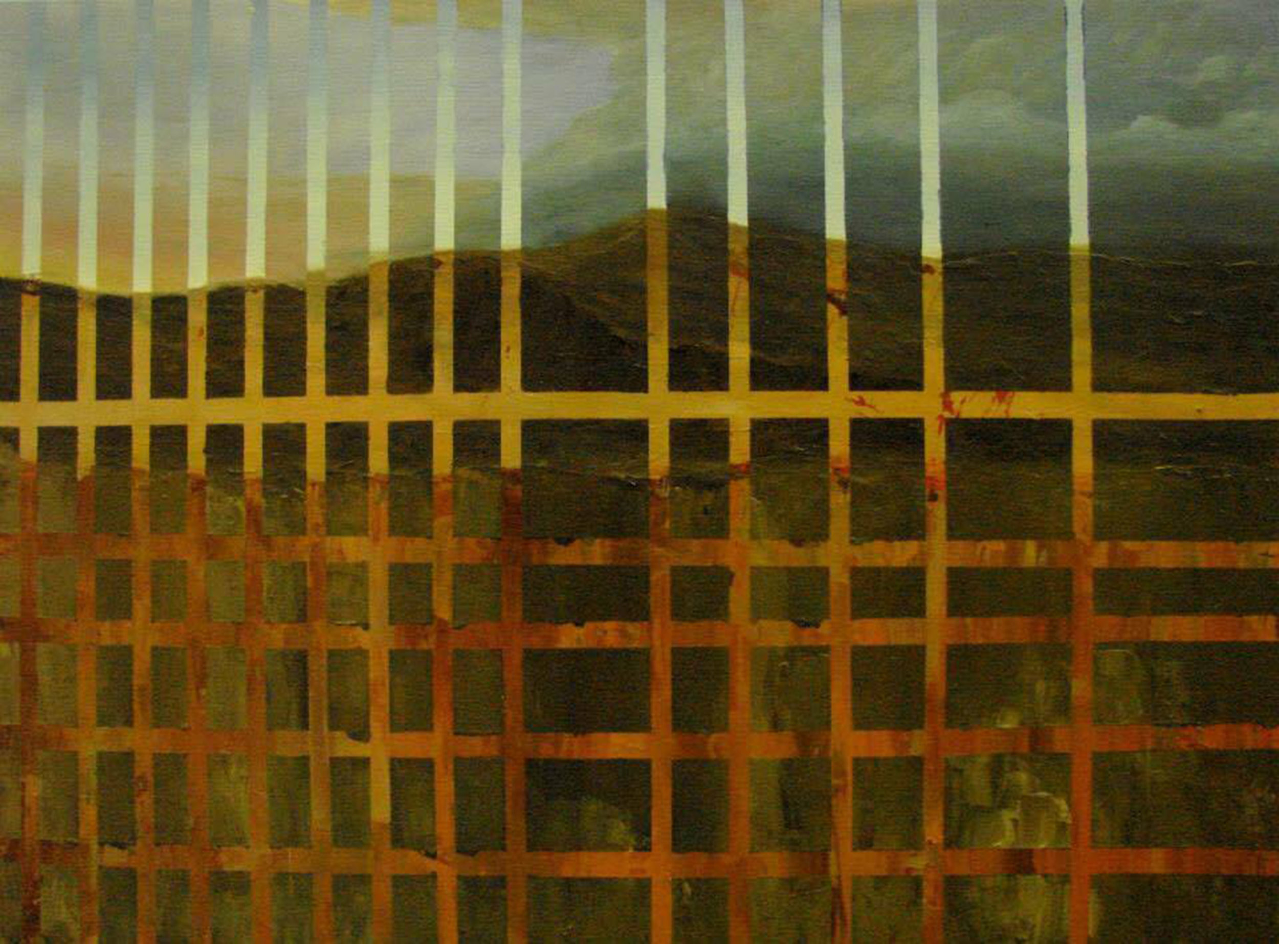 """Untitled.""  A landscape overlaid with a grid pattern. The landscape is a barren, mountainous scene with a sky that fades from yellow on the left to turbulent greens and blues on the right. If you look closely at the grid lines, they depict the same scene in the light of mid-day."