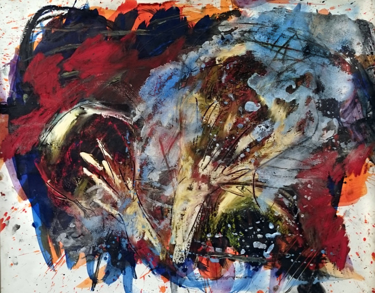 """Page 11,"" mixed media painting    This chaotic, emotional abstract painting is one page out of an artist book. On the bottom layer, bright  orange  and blue paints are scribbled violently across a white surface, with  drips  splattered across the end of the strokes. Over this, a layer of black and red paint is stroked on with equal violence, and then a layer of light cool colors (whites, yellows, and greens) are selectively smeared over it as if by hand. A splattering of blue sand and  flue  streaks across the center from the lower left-hand side to the upper right. In the center, Amanda has gone back with a sharp tool and scratched marks down through the lighter colors, leaving jagged black and red lines that one may imagine  to resemble  hands waving back and forth over a distressed figure."