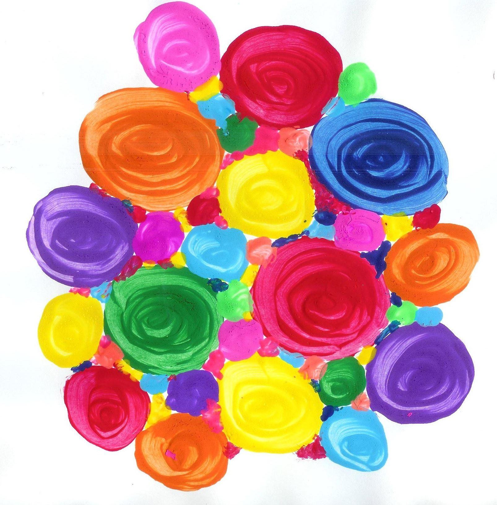 [Image Description: Dozens of bright swirled circles mass together into a single amorphous shape.]