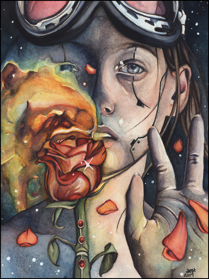 """Detail from """"Aurora,"""" watercolor by Holly Morningstar. [Image Description: A highly rendered watercolor painting shows a traditionally beautiful femme-presenting figure with long brown hair. She(?) is wearing goggles and holding one hand up. Her other hand holds a rose to her lips, and its petals transform into flames that in turn become galaxies as they expand outward (blocking our view of half her face). Closer examination reveals subtle lines and rivets in her skin, casting her status as an organic human into question.]"""