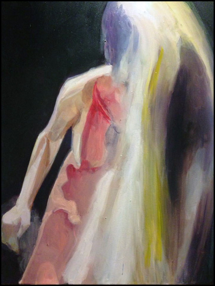 """""""The Final Glance of Lot's Wife,"""" oil painting by Steven Archer. [Image Description: A nude female figure dissolves into abstract paint strokes.]"""
