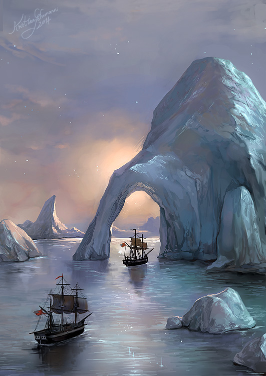 'Icebound' by Kristina Gehrmann   [Image Description: In the pearlescent light of sunset, two 19th century ships (the HMS Terror and HMS Erebus) sail through arctic seas. The leading ship passes through a narrow archway of floating ice. At this hour, the sea and sky are almost indistinguishable in the coloration, for the stars sparkle in both.]