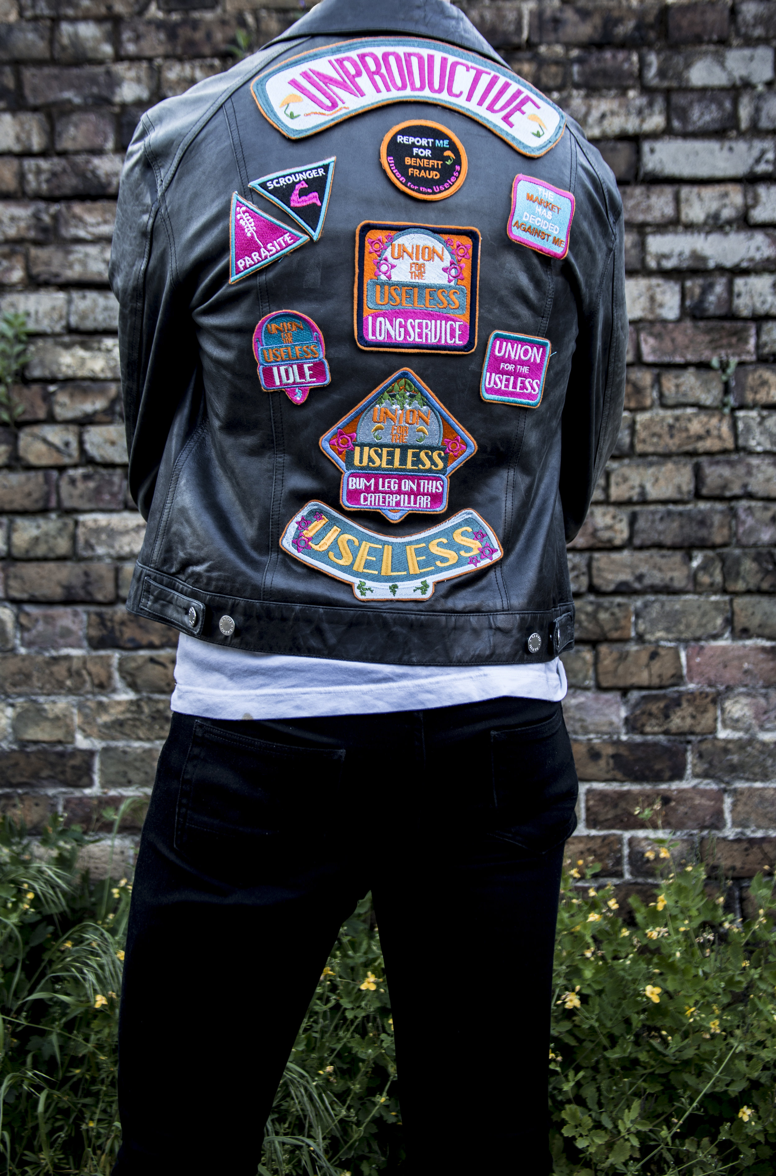 Patches on Leather Jacket by Laura Cowley