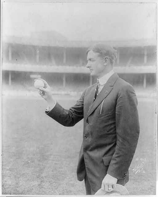 CHRISTY MATHewson showing how to grip his famous fadeaway, 1917. (photo courtesy of library of congress)