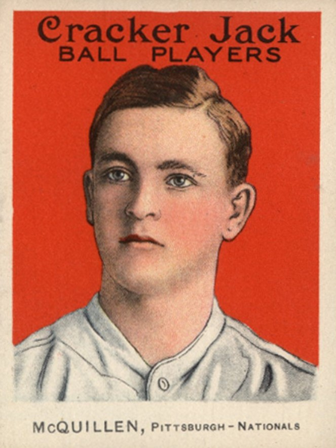George McQuillan's idealized portrait on his 1914 Cracker Jack baseball card is very different from his appearance in photographs (see below).