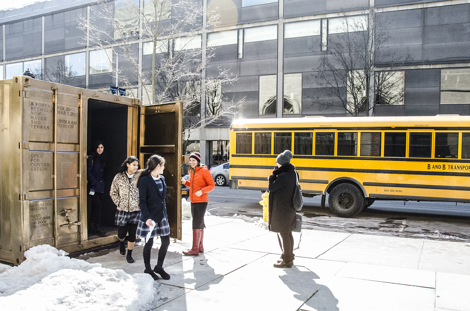 School group visits the New Haven Portal and speaks with Tehran