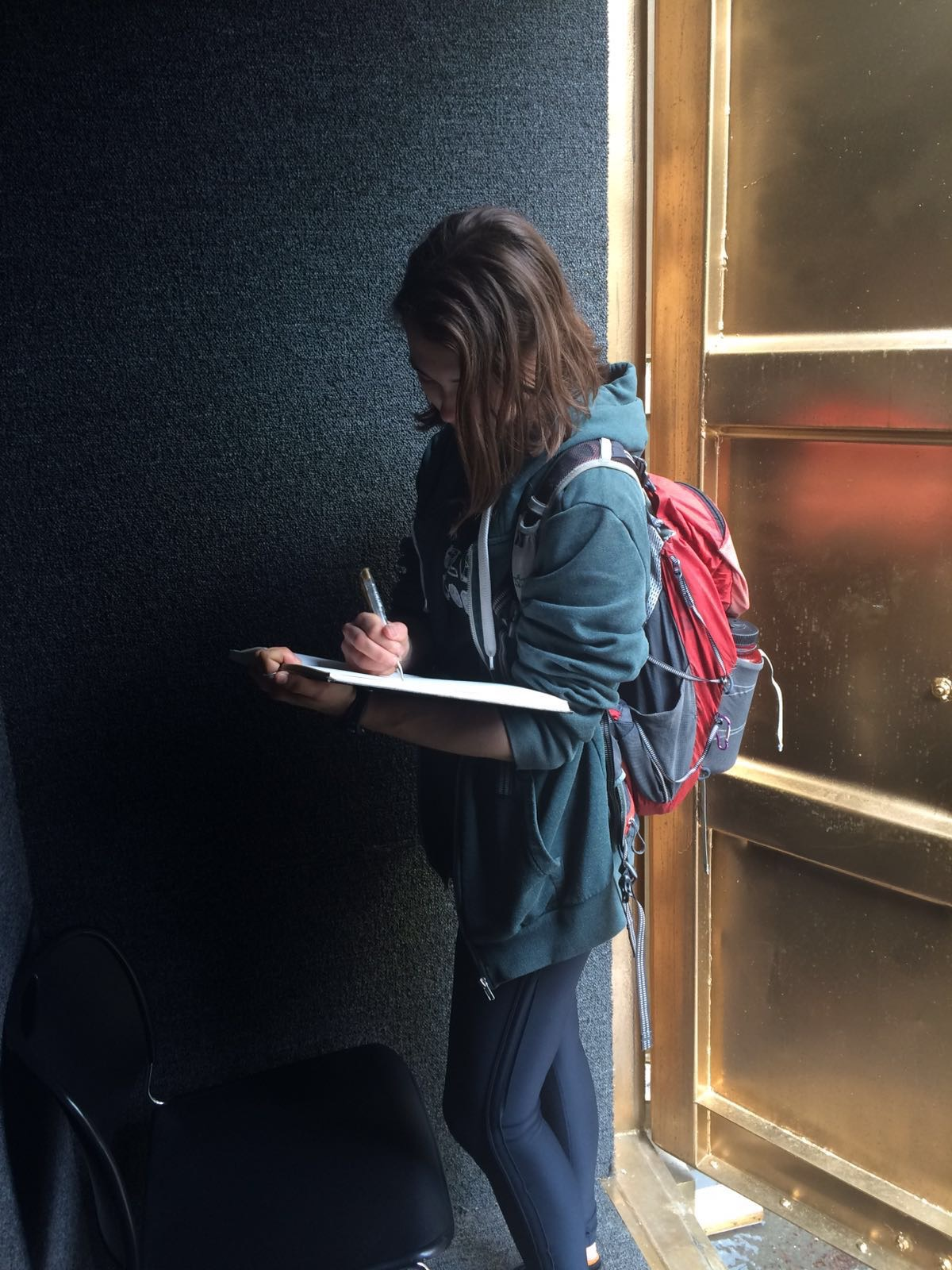 Student writes in our gold book after her Portal conversation
