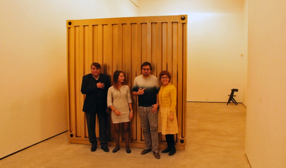 Amar Bakshi, second from right, the lead artist on the Portal Between Tehran and NYC project, says his mother and uncle, also seen here, helped out a lot on the project. Michelle Moghtader, second from left, is the project's development director. Credit: Bruce Wallace