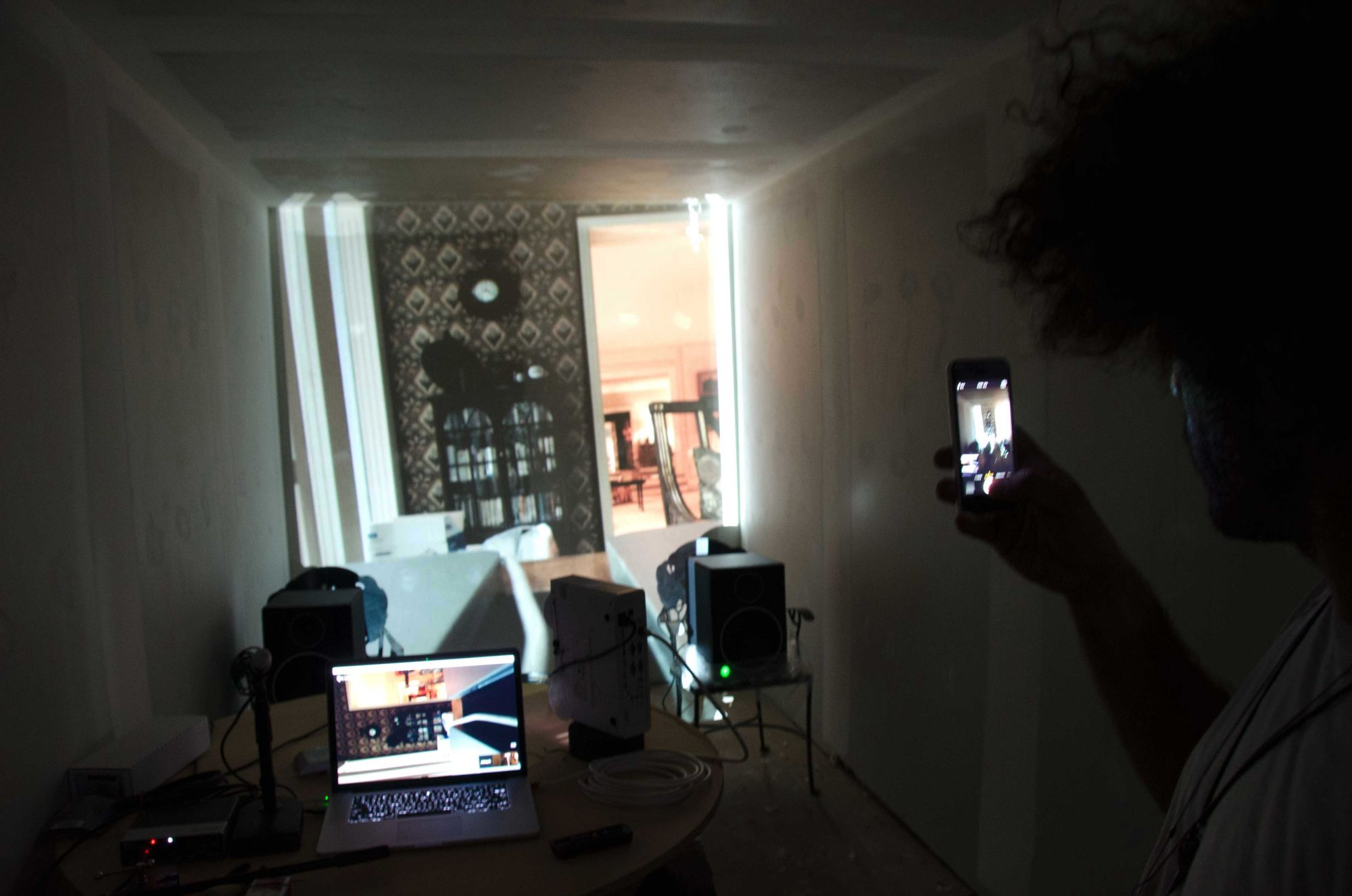 An early test of the Portals technology is easily mistaken for a window into Amar's living room.