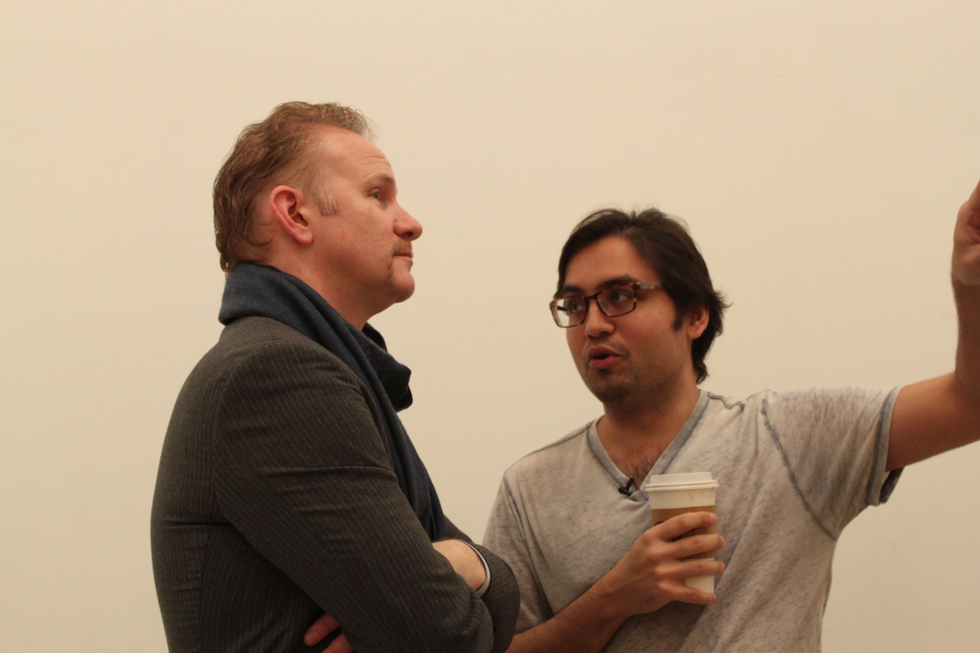 Amar discusses his vision for the project with filmmaker Morgan Spurlock during the New York exhibition.