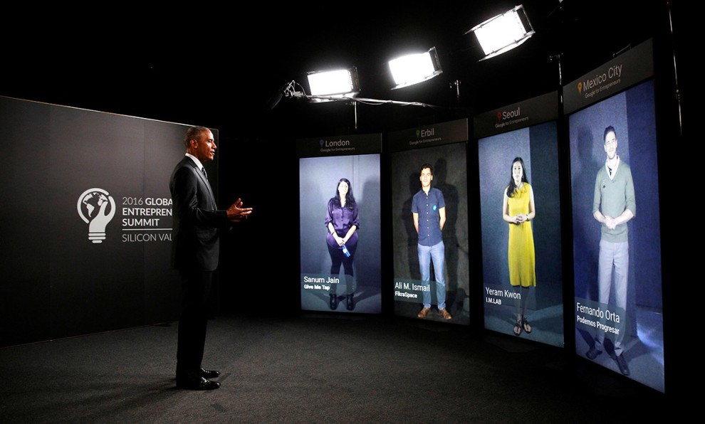 President Obama takes a step inside the portal. (Credit: Shared Studios)