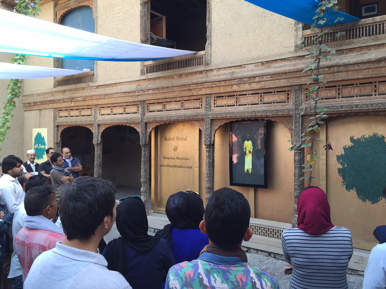 Portal launch event in Kabul, Afghanistan at Turquoise Mountain with a live external screen.