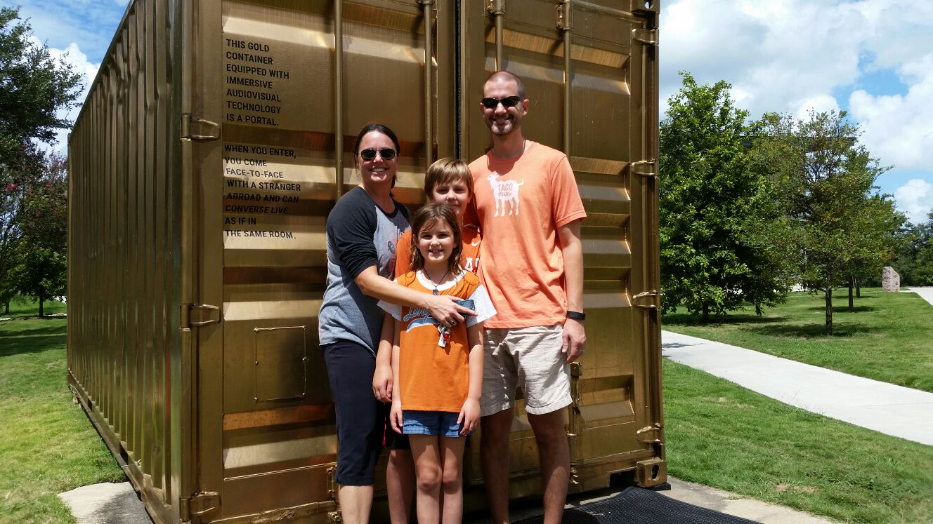 The Heffron Family at the Portal in Austin, Texas.
