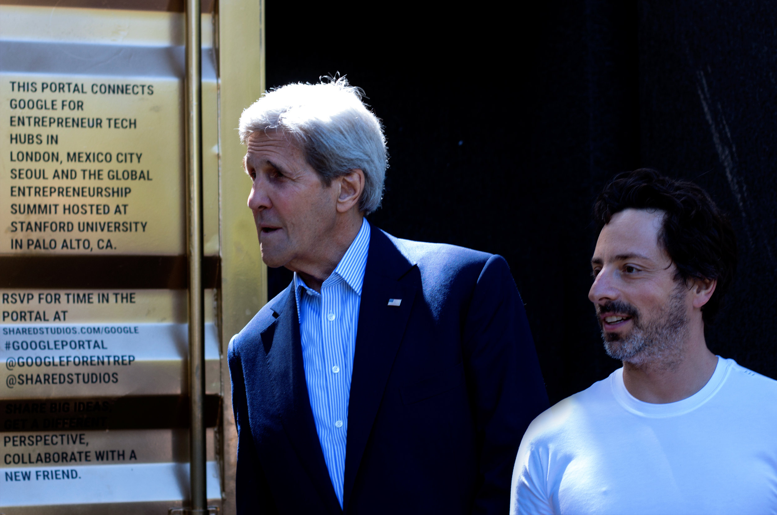 John Kerry and Sergey Brin leave the Portal after talking to entrepreneurs in Herat, Seoul and Mexico