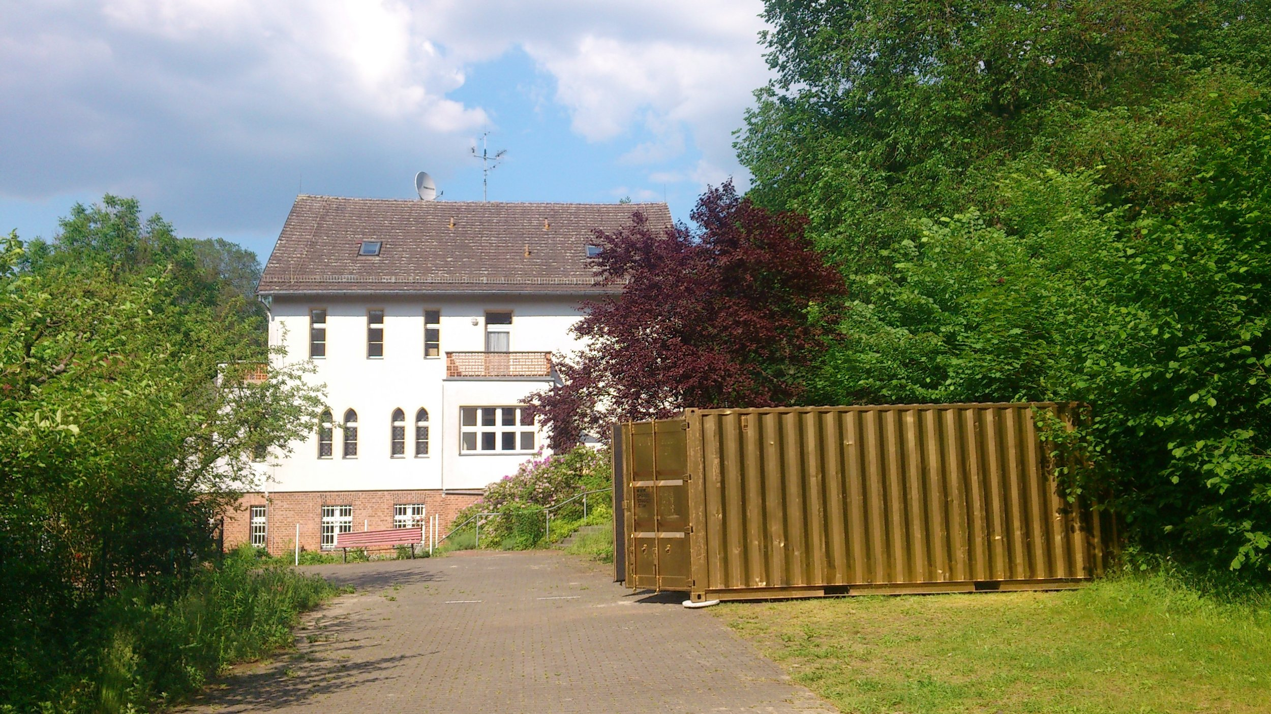 Portal outside a refugee resettlement home in Utzdorf, Germany