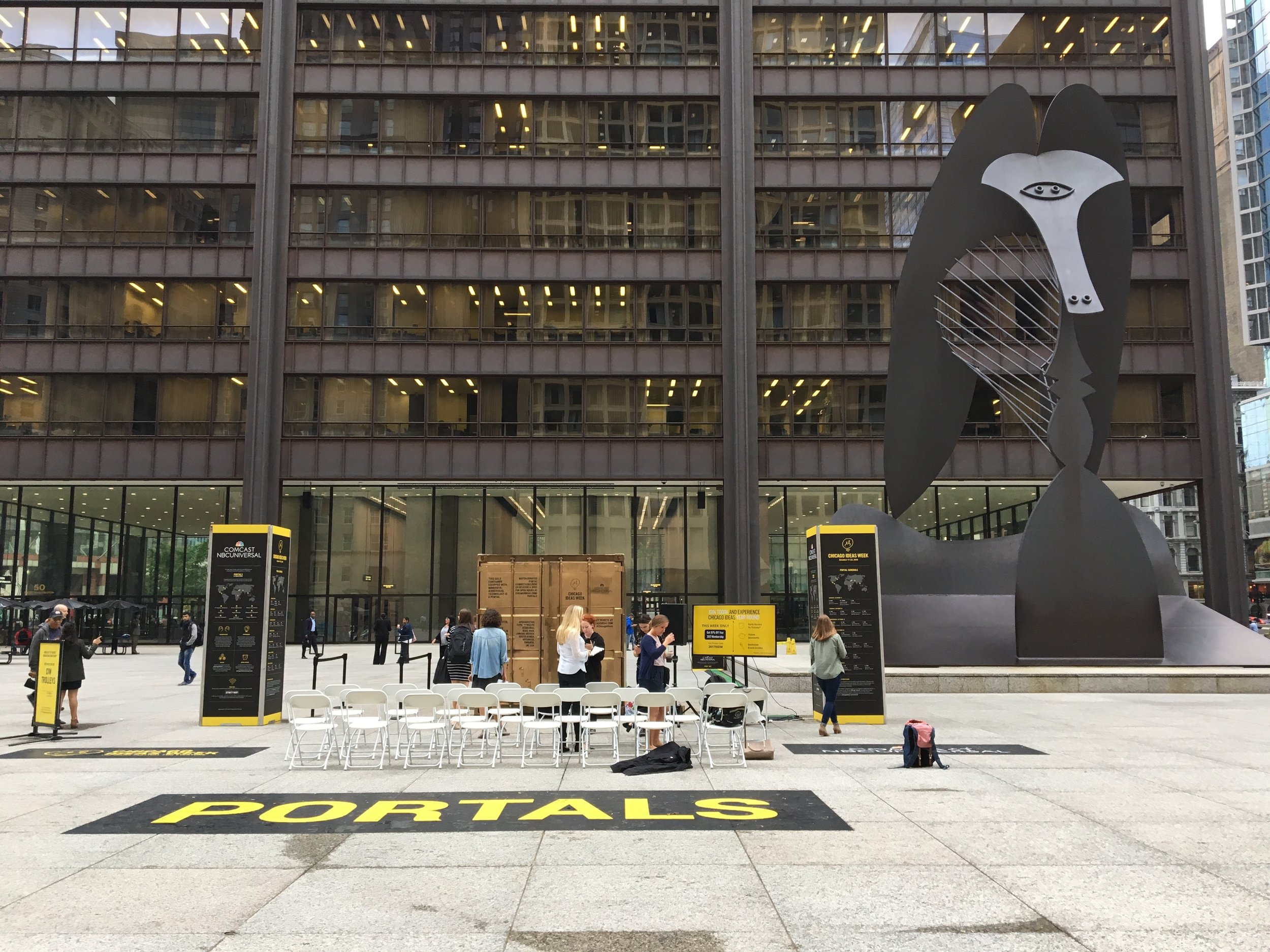 Our Portal in Daley Plaza right underneath a massive untitled sculpture by Pablo Picasso. It is often called The Picasso or  Chicago Picasso .