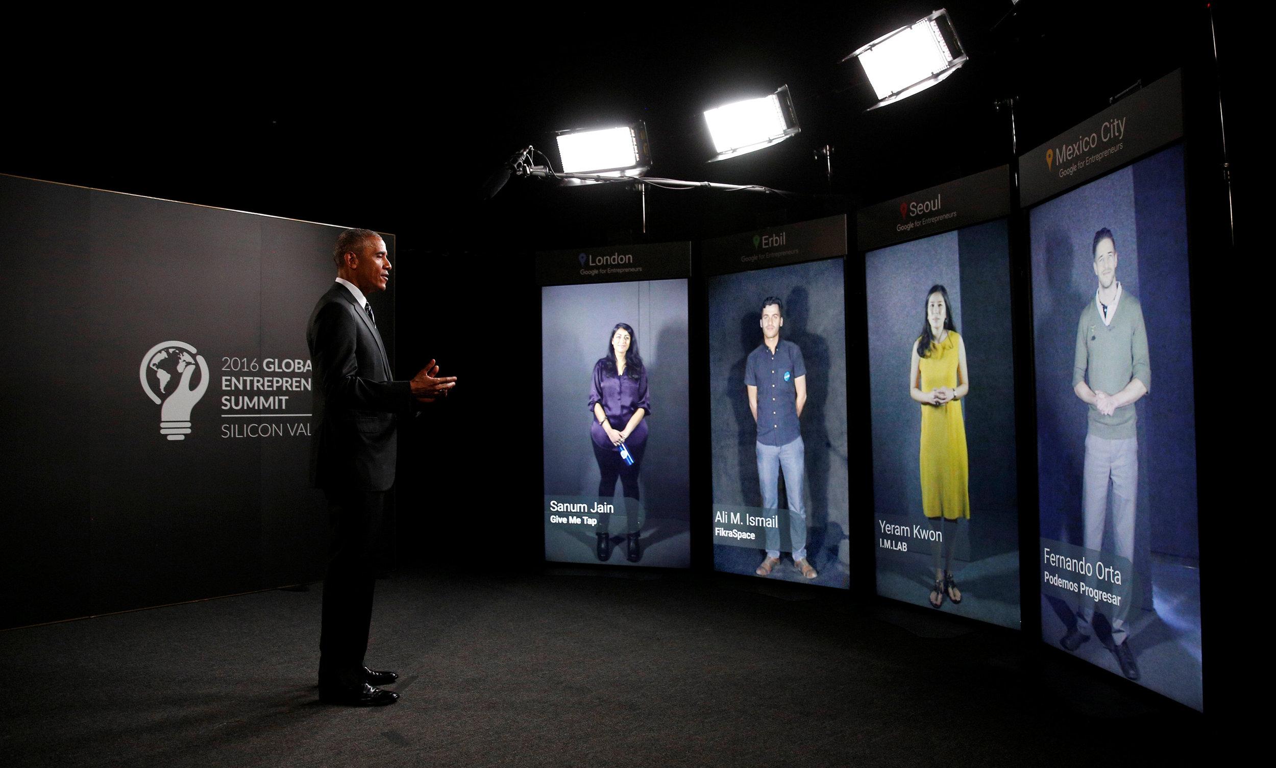 President Obama speaking to entrepreneurs in South Korea, Iraq, Mexico and the UK through Portal Screens