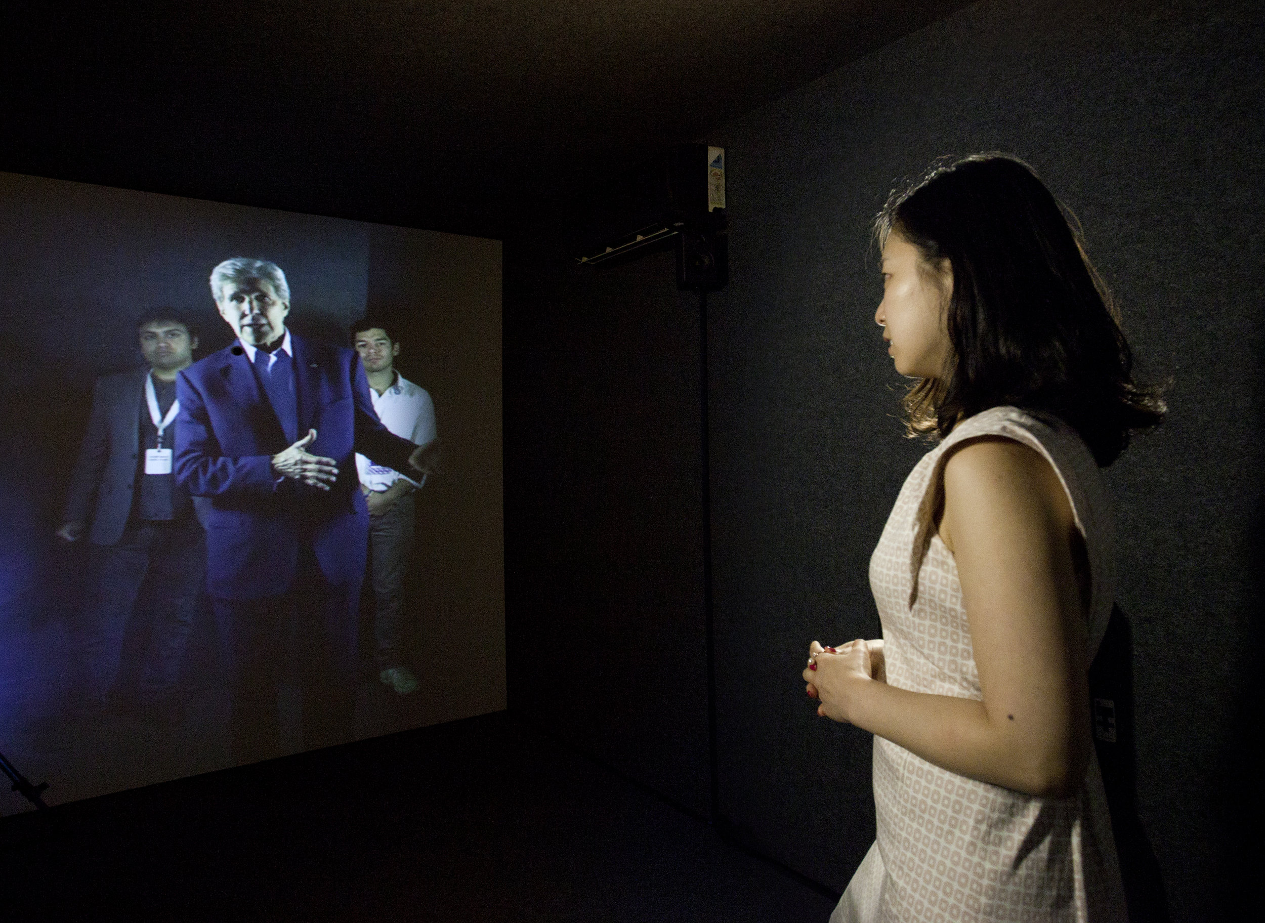 Entrepreneur in Seoul Portal speaking with U.S. Secretary of State John Kerry at the Stanford Portal