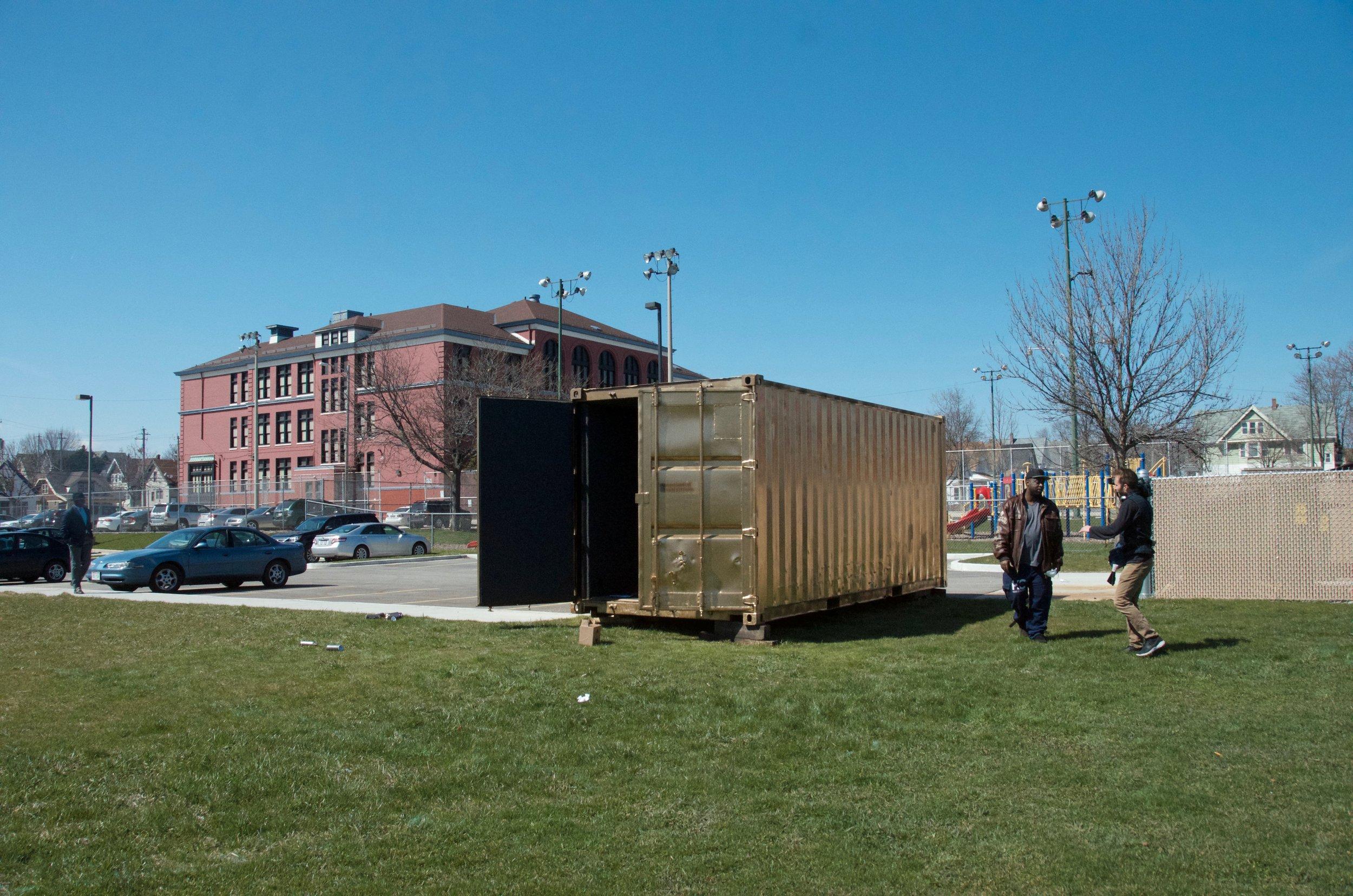Milwaukee Portal Curator Lewis Lee outside the Milwaukee Portal (April 2016).