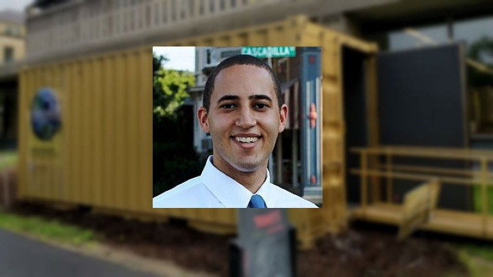 Mayor Svante Myrick '09 was transported to Mexico City at the Portal by Olin Library.