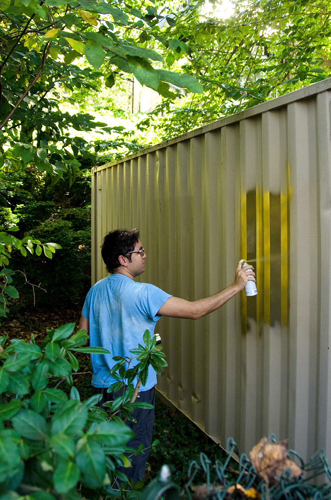 Artist Amar Bakshi painting the original Portal. August 2014. Credit_ Elizabeth Bick for Shared_Studios.jpg