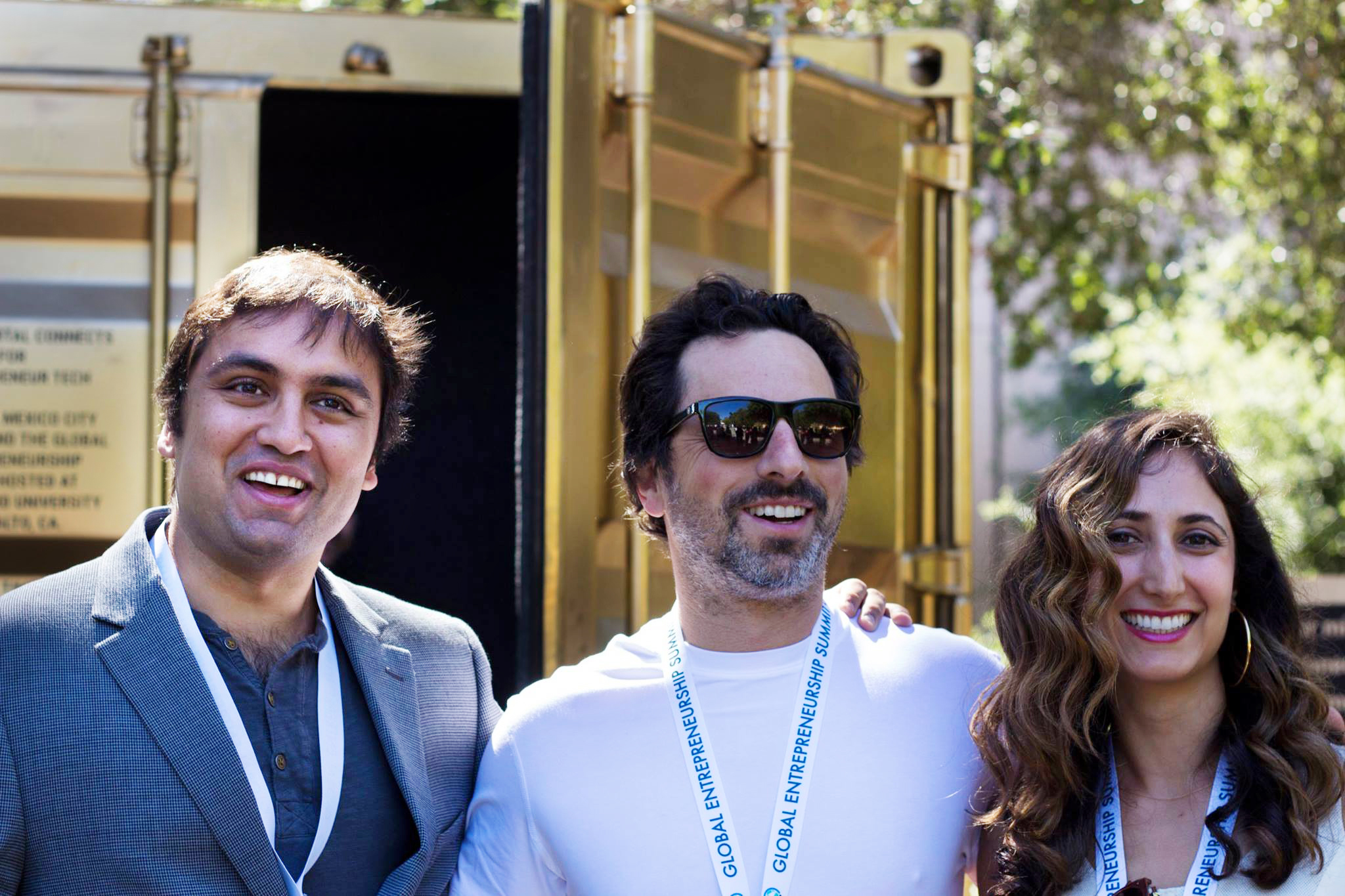 Copy of Founder Shared_Studios Amar Bakshi,  Co-Founder Shared_Studios Michelle Moghtader, Google's Sergey Brin at GES 2016 at Stanford.jpg