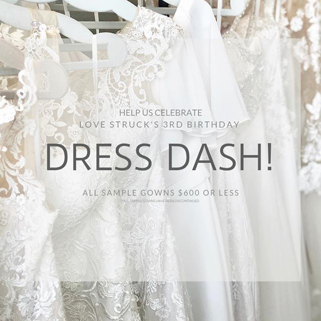 ✨SO EXCITING✨  Love Struck is turning 3 in just a few short weeks and we are having a MAJOR sale on sample gowns!! Come celebrate with us and choose your wedding dress to marry the love of your life ♥️ Appointments REQUIRED; call or email to schedule. Dates available are April 27, May 1-4