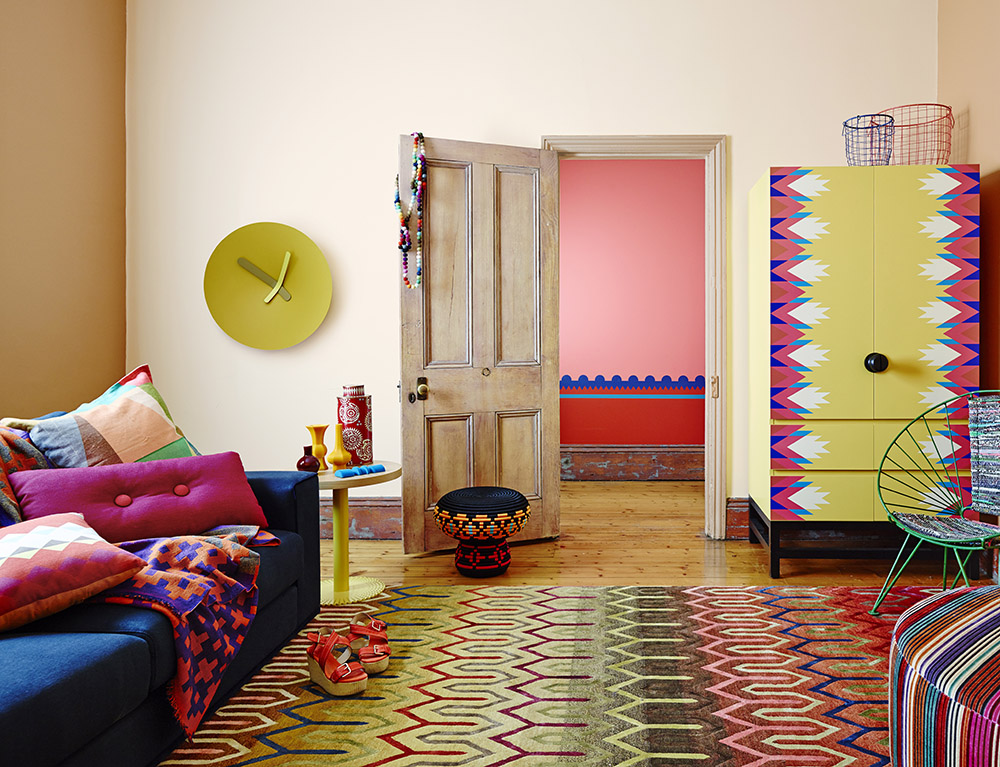 Tetradic colours schemes are busy, but when executed correctly can create an incredible space that sings with personality and energy. Rug: 'Geo Century' in Multi