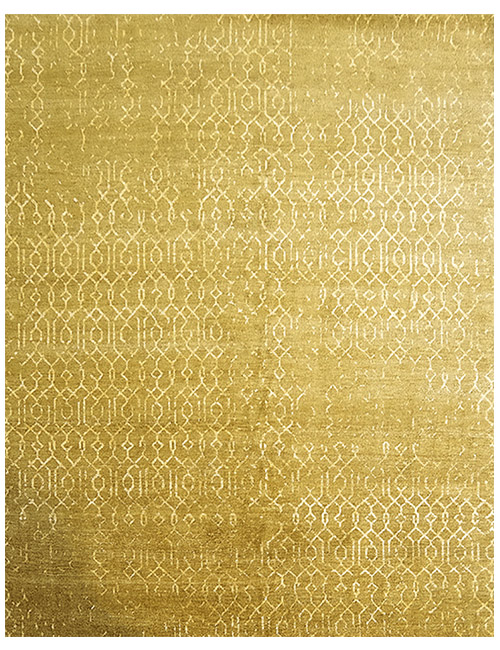 'Rabat' rug in yellow. Hand knotted NZ wool and cotton viscose blend