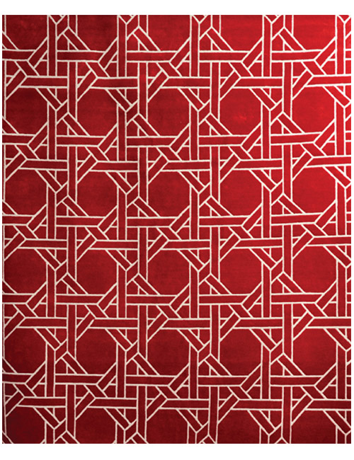 'Cane Weave' rug in Red and white. Hand knotted 100% NZ wool
