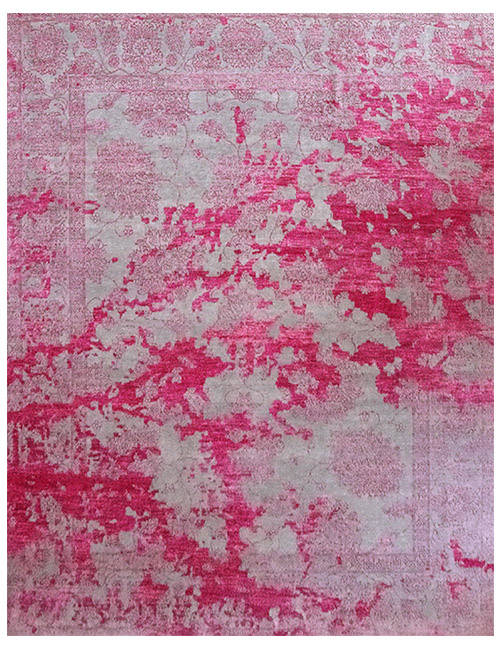 'Melody' rug in Rose/Grey. Hand knotted bamboo silk and wool blend.