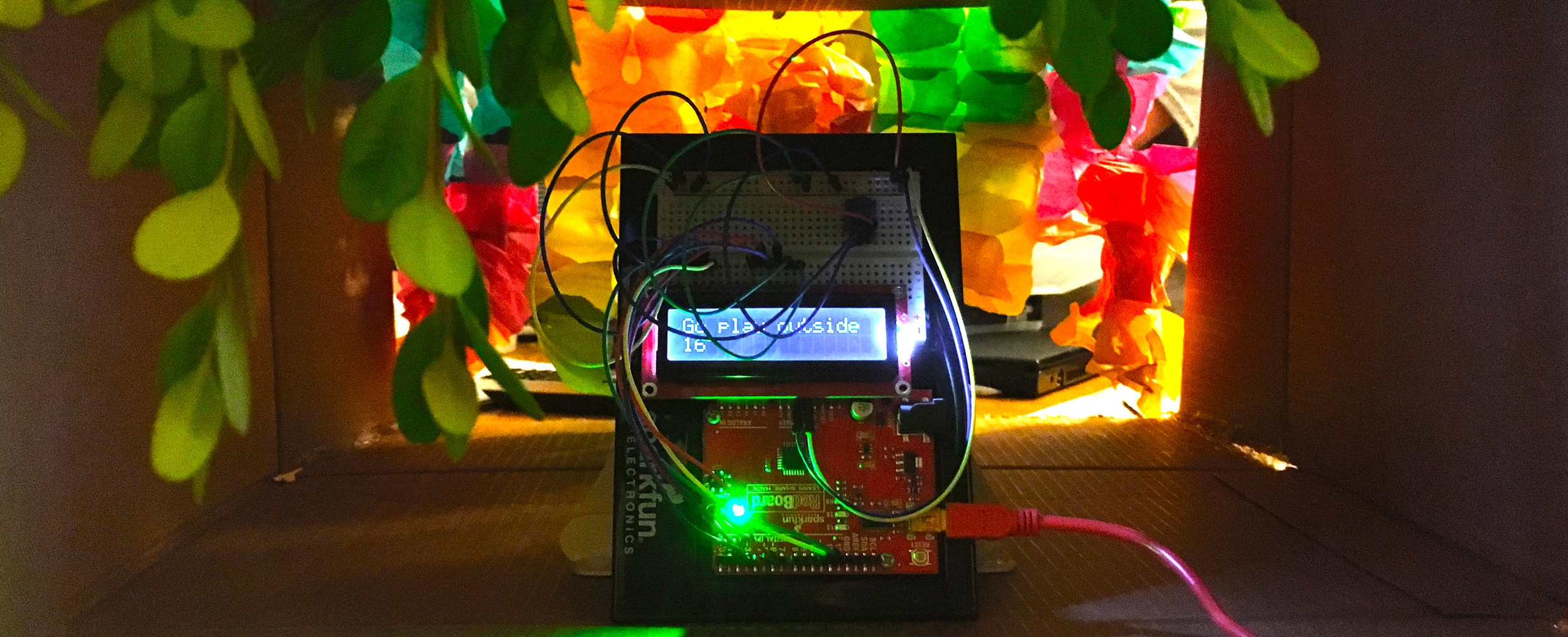 Arduino sculpture created by a student, spring 2017