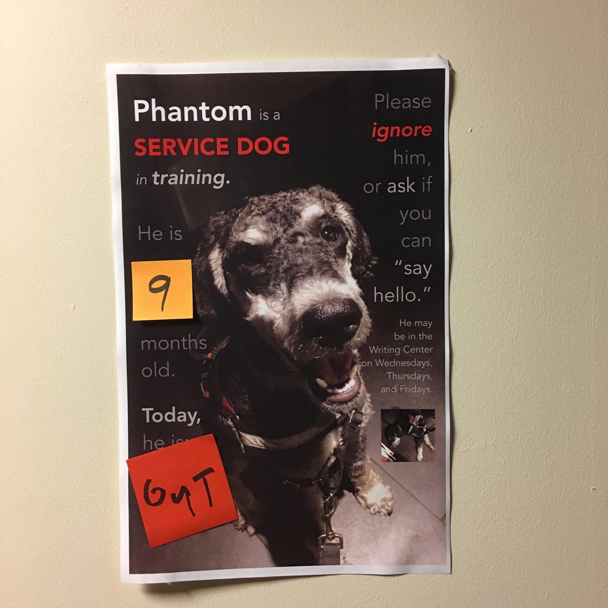 Phantom's Poster in the Writing Center