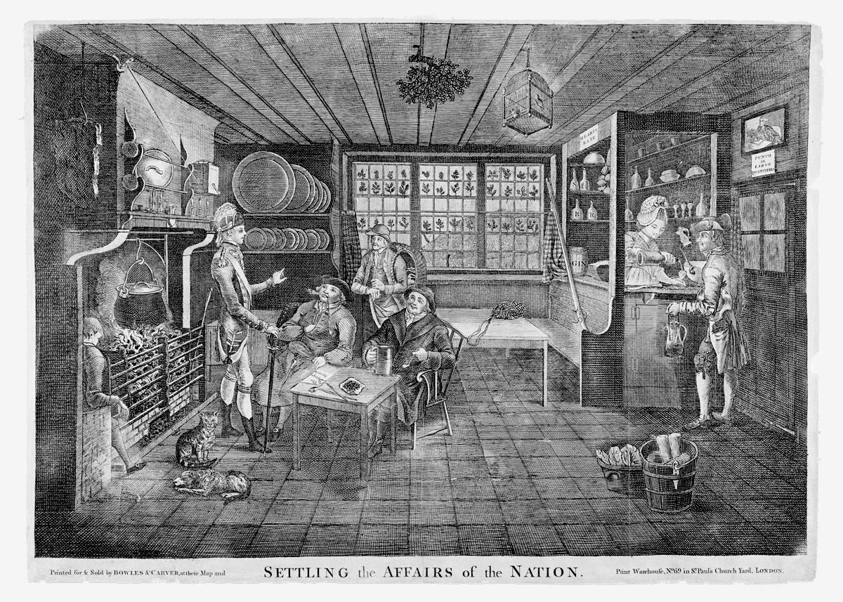 View of the interior of an English inn or tavern in the 1800s