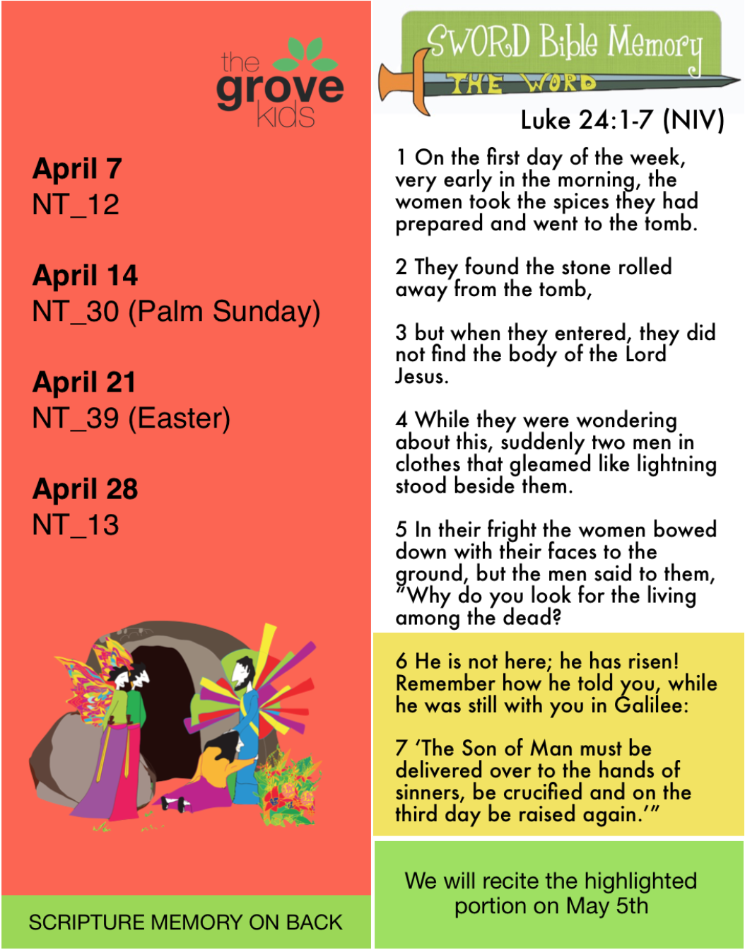 Scripture Memory  - Check out the highlighted portion on the bookmark below to see what we will recite in our Gathering May 5th.