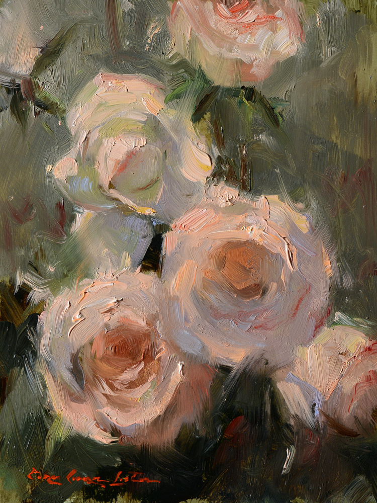 "White and Pink Rose #4 - 8""x6"""