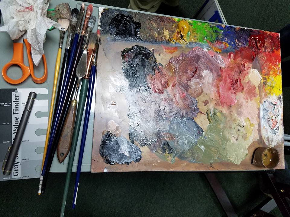 My palette during a workshop