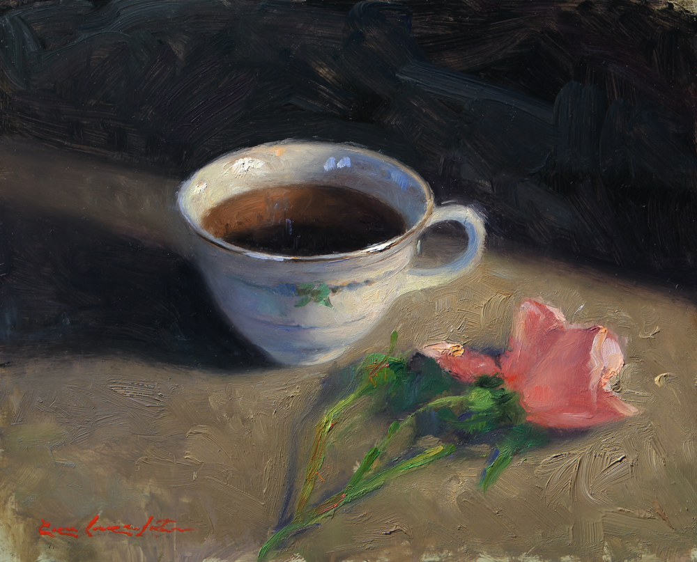 "Tea Cup and Pink Rose - 8"" x 10"""