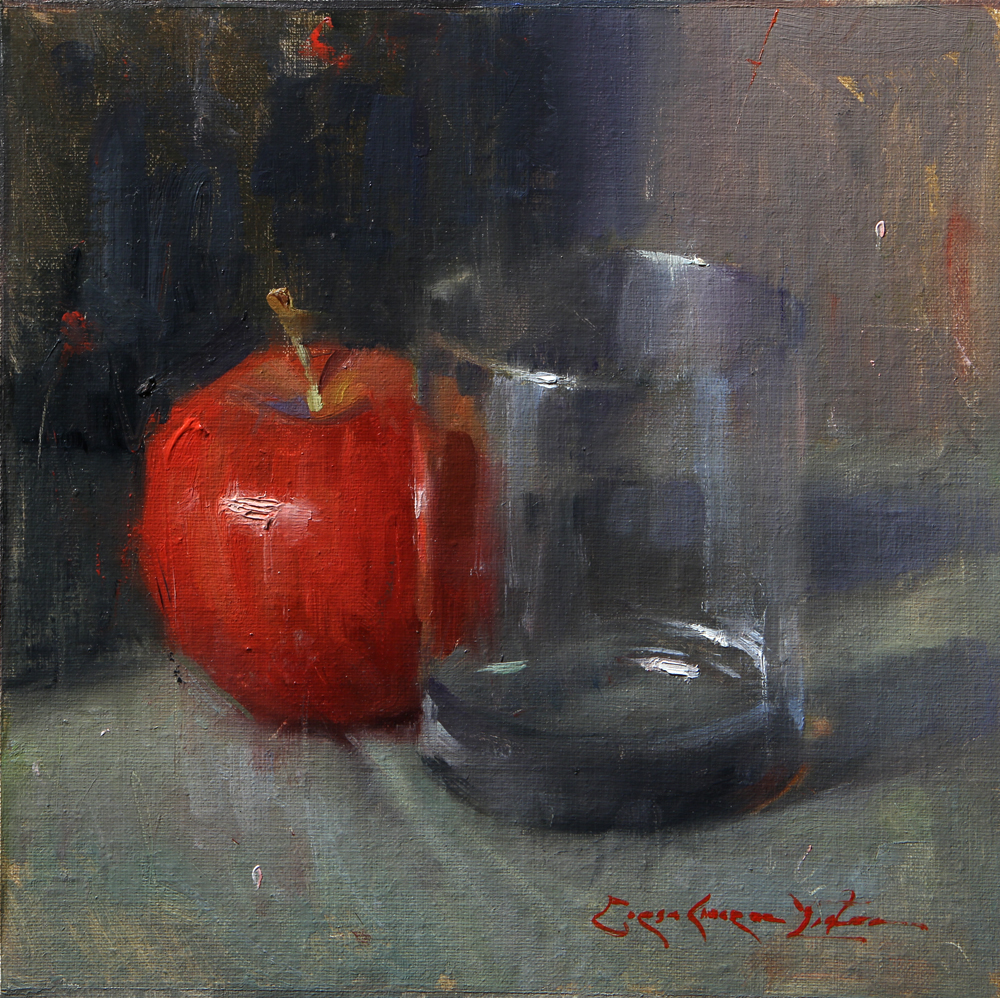 "Red Apple with Glass - 8"" x 8"""