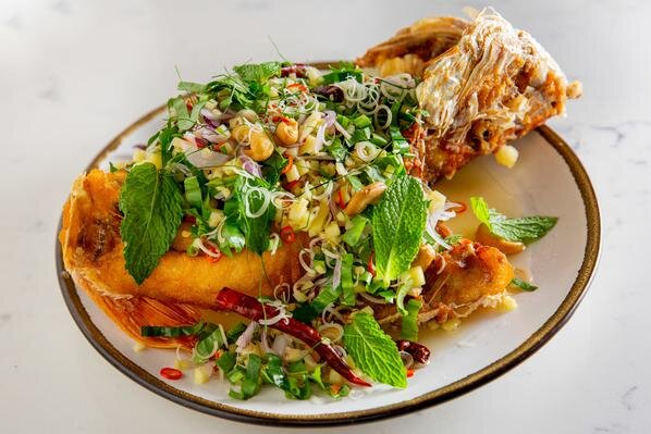 Fried Fish with Garden Herb Salad