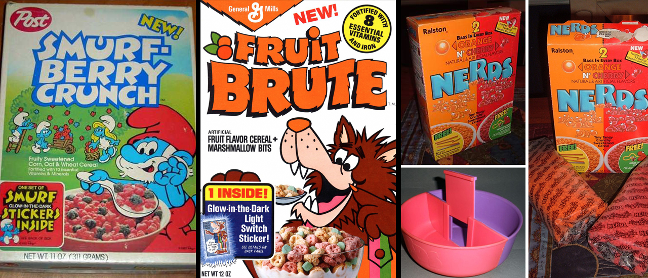fruit brute, smurf berry crunch, nerds cereal