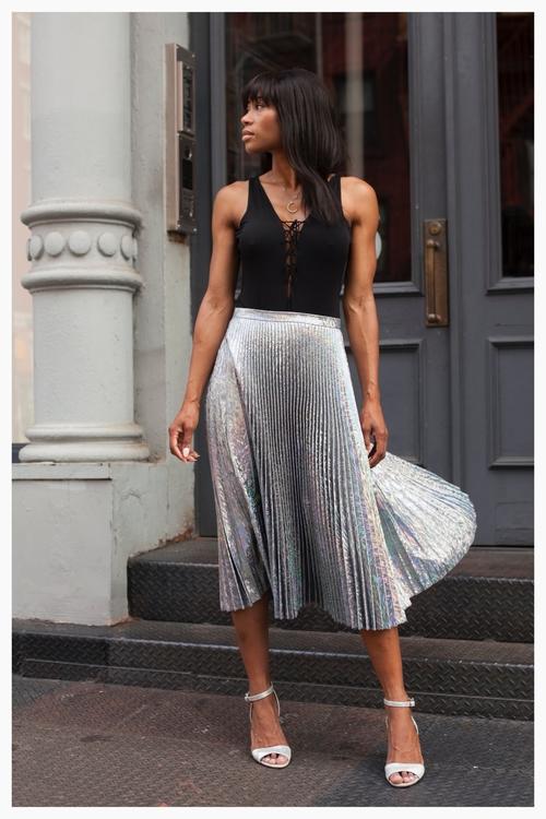 Delfi Collective skirt, BCBG bodysuit, Ava & Aiden shoes